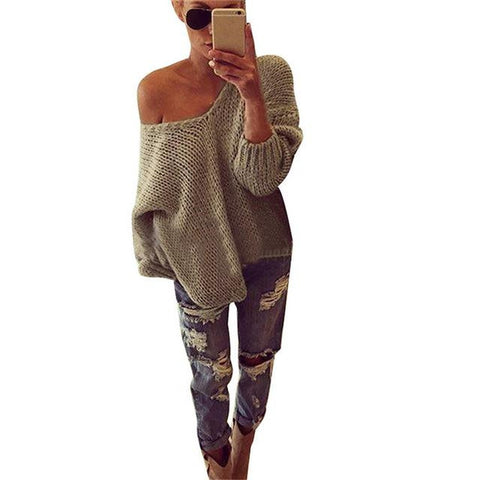Long Sleeve Loose Off Shoulder V Neck Pullovers