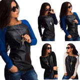 Off Shoulder Pu Leather Long Sleeve Casual Tops