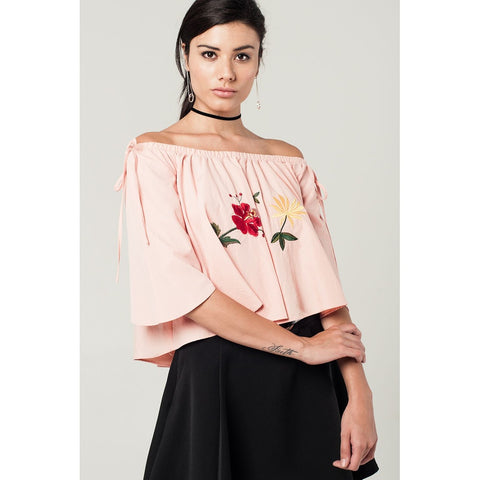 Off Shoulder Top with Embroidered Flowers