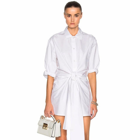 Abse Boyfriend Shirt Dress - White