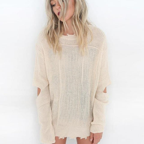 Fashion Hole Knitted Pullover