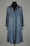 D-Denim Shirt Dress With Pockets