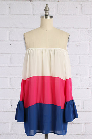 Off Shoulder Color Block Blouse