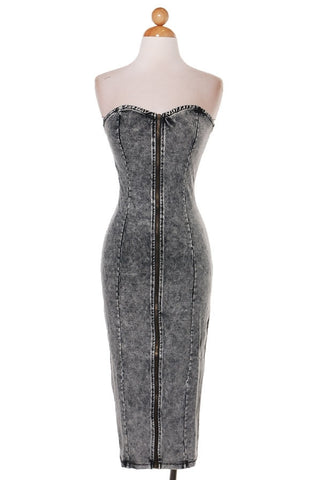 D-Acid Wash Pencil Dress