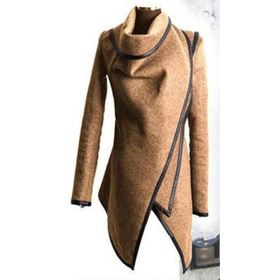 Asymmetric Trench Woolen Overcoat
