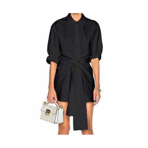 Abse Boyfriend Shirt Dress - Black