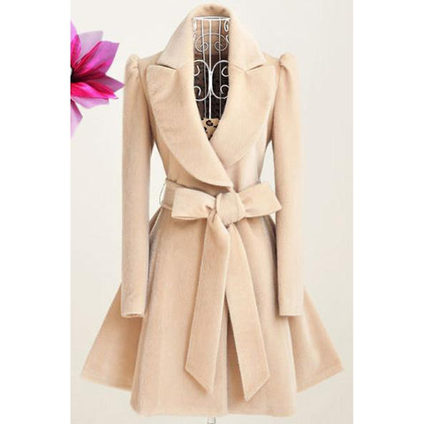 Long Slim Woolen Coat with Belt
