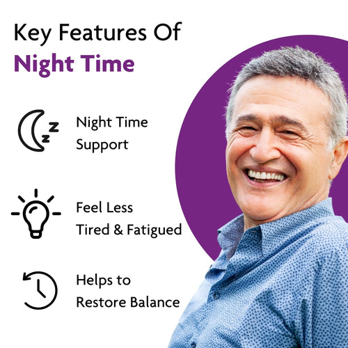 Woman peacefully asleep. Product colour semi circle behind her and text reads: Benefits of Night Time Natural sleeping aid, wake up feeling refreshed & reduce stress & anxiety.