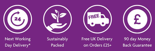 Image shows icons for the following: Next Working Day Delivery*. Sustainably Packed. Free UK Delivery on Orders over £25. 90 day money back guarantee.