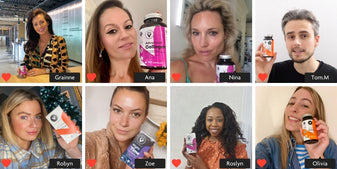 Photo grid with 4 x 4 sections. Each section has a customer photo, instagram style with tagged in customers. Grainne, Ana, Nina, Tom, Robyn, Zoe, Roslyn and Olivia. They all look happy. They all have a Vitamini product in hand - Collagen, Immune & Night Time.