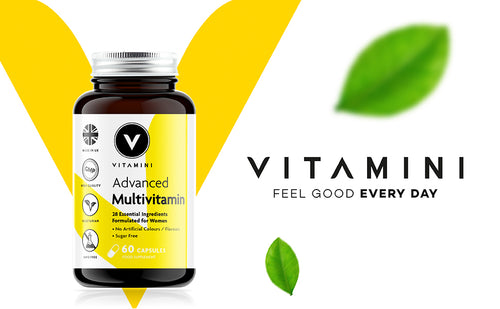Pot of Vitamini Advanced Women's Multi in front of Vitamini V logo. Text reads VITAMINI FEEL GOOD EVERY DAY with 2 leaves, 1 above text and one underneath.