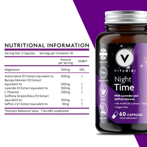 Nutritional Information: Serving Size 2 capsules. Servings per container 30. Amounts per serving - Magnesium 200mg, Avena Sativa 10:1 extract equivalent to 500mg, Bacopa Monnieri 10:1 extract equivalent to 500mg, Lavender 4:1 extract equivalent to 500mg, Griffonia Simplicifolica 15:1 extract equivalent to 100mg and Saffron 2:2:1 extract equivalent to 10mg.