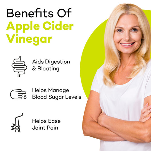 Older lady smiling, product colour semi circle behind her and text reads: Benefits of Apple Cider Vinegar - Aids Digestion & Bloating. Helps Manage Blood Sugar Levels. Helps Ease Joint Pain.