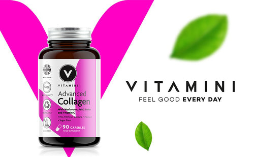 Pot of Vitamini Advanced Collagen in front of Vitamini V logo. Text reads VITAMINI FEEL GOOD EVERY DAY with 2 leaves, 1 above text and one underneath.