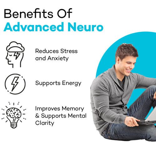 Man sitting at laptop, looking happy. Product colour semi circle behind her and text reads: Benefits of Advanced Neuro Reduces stress and anxiety, supports energy, improves memory & supports mental clarity.