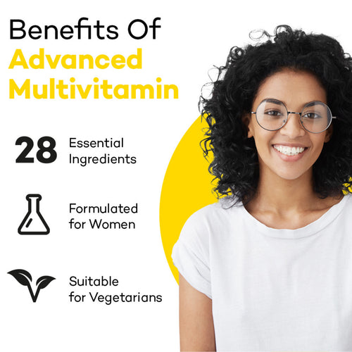 Mixed Race Woman with big round glasses standing, looking happy. Product colour semi circle behind her and text reads: Benefits of Advanced Women's Multi - 28 essential ingredients, formulated for Women and suitable for vegetarians.