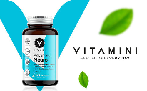 Pot of Vitamini Advanced Neuro in front of Vitamini V logo. Text reads VITAMINI FEEL GOOD EVERY DAY with 2 leaves, 1 above text and one underneath.