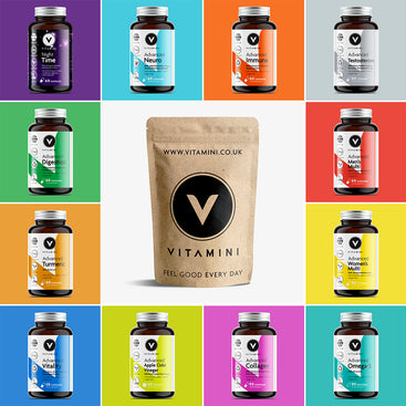 Square grid of products with product colours. Night Time, Neuro, Immune, Testosterone, Digestion, Men's Multivitamin, Turmeric, Women's Multivitamin, Vitality, Apple Cider Vinegar, Collagen and Omenga-3. Product Plastic Free Eco-Pouch is in the middle.