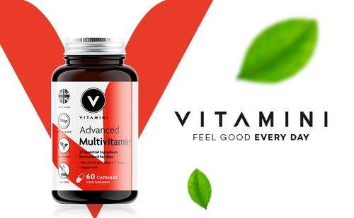 Pot of Vitamini Advanced Men's Multi in front of Vitamini V logo. Text reads VITAMINI FEEL GOOD EVERY DAY with 2 leaves, 1 above text and one underneath.