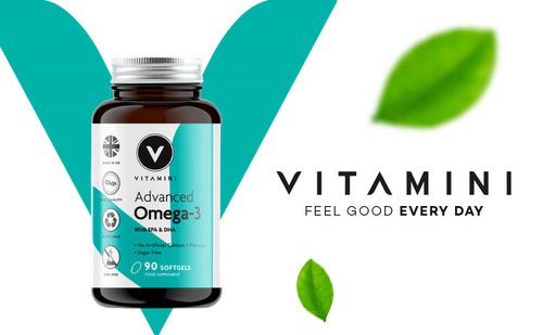 Pot of Vitamini Advanced Omega-3 in front of Vitamini V logo. Text reads VITAMINI FEEL GOOD EVERY DAY with 2 leaves, 1 above text and one underneath.
