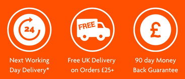 Image shows icons for the following: Next Working Day Delivery*. Free UK Delivery on Orders over £25. 90 day money back guarantee.