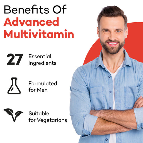 Man standing, looking happy. Product colour semi circle behind her and text reads: Benefits of Advanced Men's Multi - 27 essential ingredients, formulated for men and suitable for vegetarians.