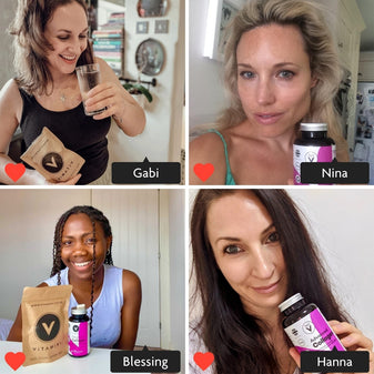 Photo grid with 4 sections. In each section is a customer. Instagram style image with Gabi tagged in. Gabi is taking her Vitamini Collagen Supplement with a glass of water, she is smiling and holding a Vitamini Advanced Collagen Eco-Pouch. Instagram style image with Nina tagged in. Nina is holding a pot of Vitamini Advanced Collagen Supplements. Nina is smiling and has glowing skin. Instagram style image with Blessing tagged in. Blessing is sitting at a table with a Collagen Pot and Collagen Eco Pouch on the surface. Blessing has a massive smile and looks happy. Instagram style image with Hanna tagged in. Hanna is holding a pot of Vitamini Advanced Collagen. Hanna is smiling.