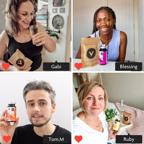 Photo grid with 4 sections. In each section is a customer. Instagram style image with Gabi tagged in. Gabi is taking her Vitamini Supplement with a glass of water, she is smiling and holding a Vitamini Eco-Pouch. Instagram style image with Tom tagged in. Tom is holding a pot of Vitamini Immune Supplements. Tom is smiling. Instagram style image with Blessing, a woman of colour, tagged in. Blessing is sitting at a table with a Pot and Eco Pouch on the surface. Blessing has a massive smile and looks happy.  Instagram style image with Ruby tagged in. Ruby is holding a pot of Vitamini Women's Multivitamins. Ruby is smiling and has an eco-pouch and bottle of water on the side.