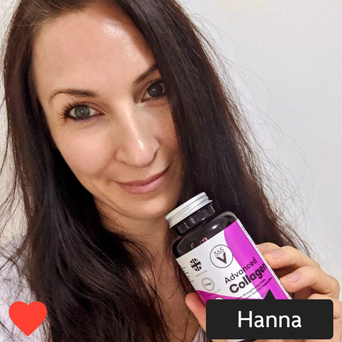 Instagram style image with Hanna tagged in. Hanna is holding a pot of Vitamini Advanced Collagen. Hanna is smiling.