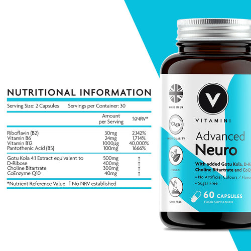 Nutritional Information: Serving Size 2 capsules. Servings per container 30. Amounts per serving - Riboflavin (B2) 30mg, Vitamin B6 24mg, Vitamin B12 1000µg, Pantothenic Acid (B5) 100mg, Gotu Kola 4:1 extract equivalent to 500mg, D-Ribose 400mg, Choline Bitartrate 300mg and Co-Enzyme Q10 40mg.