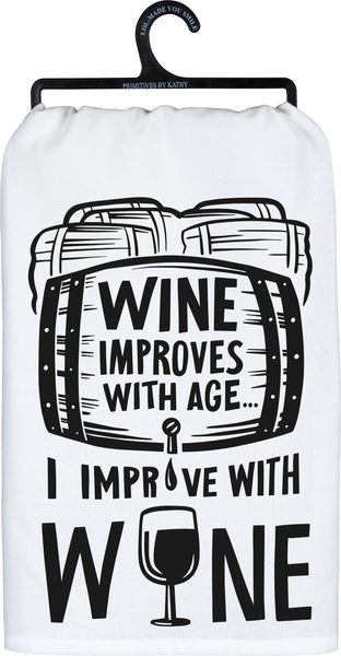 """Wine Improves"" Dish Towel"