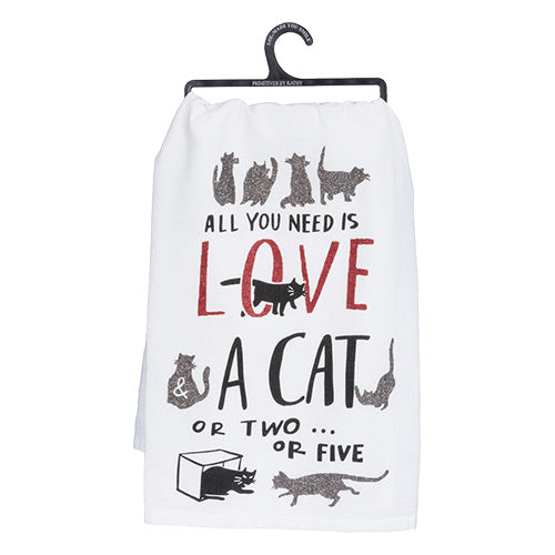 """Love and a Cat"" Dish Towel"