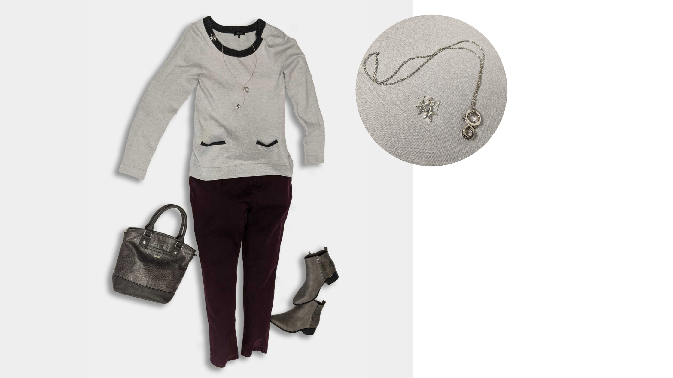 Maroon jegging with a two-tone grey sweater, a mid-length pea coat, and ankle boots.