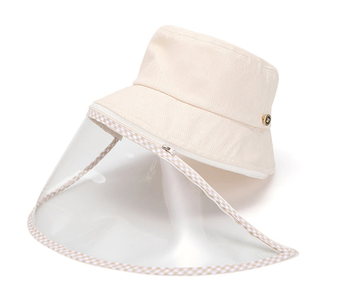 Lucete Face Shield Anti-Spitting Hat (Beige: Adult Size, Kids Size)