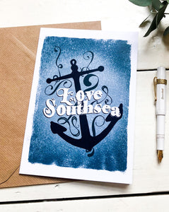 Love Southsea Anchor Greetings Card
