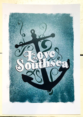 Love Southsea Anchor Print