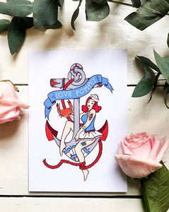 Love Southsea Anchor Sailor Girl Greetings Card