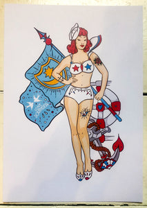 Love Pompey Flag Sailor Girl Print
