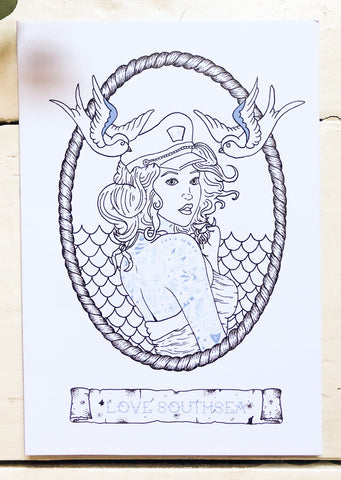 Tattooed Sailor Girl Print