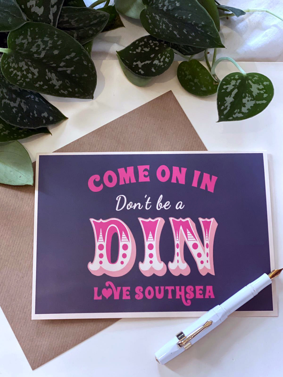 Come on in, don't be a din! Greetings Card