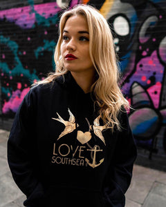 Black & Gold Bird & Anchor Hoodie