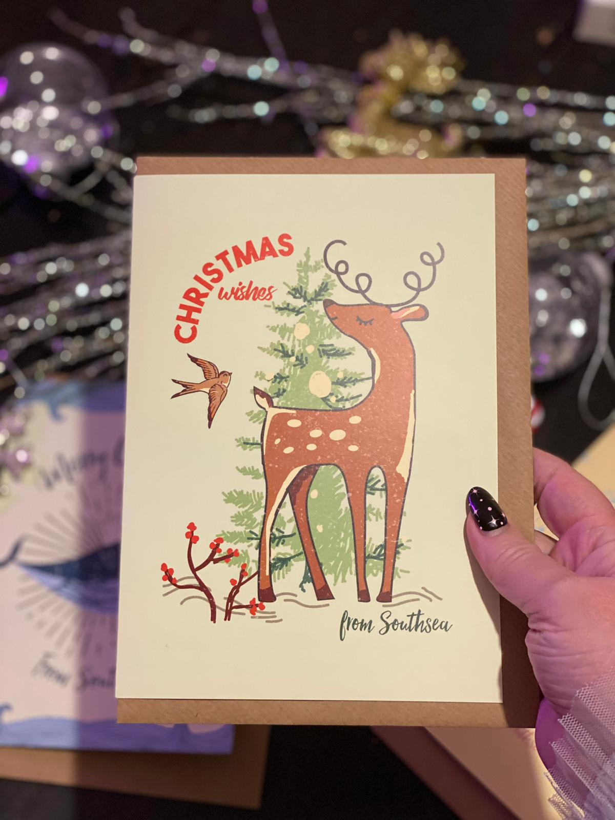 'Christmas Wishes' from Southsea LARGE Deer Christmas Greetings Card