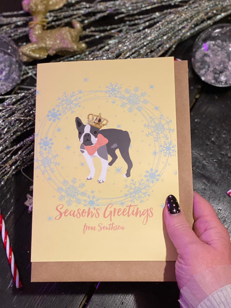 Seasons Greetings from Southsea LARGE Dog Christmas Greetings Card