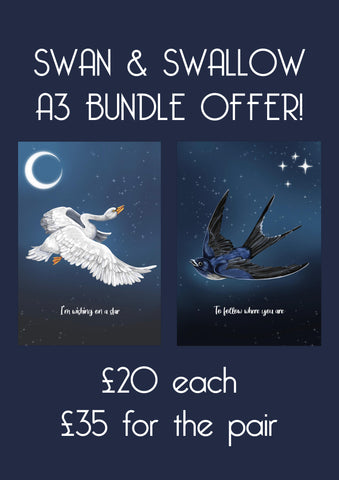'Swan & swallow' Art Bundle Print