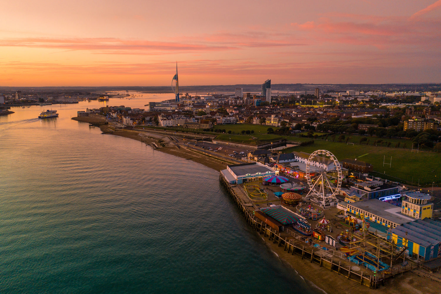 'Clarence Pier sunset' Aerial Drone Photo Print