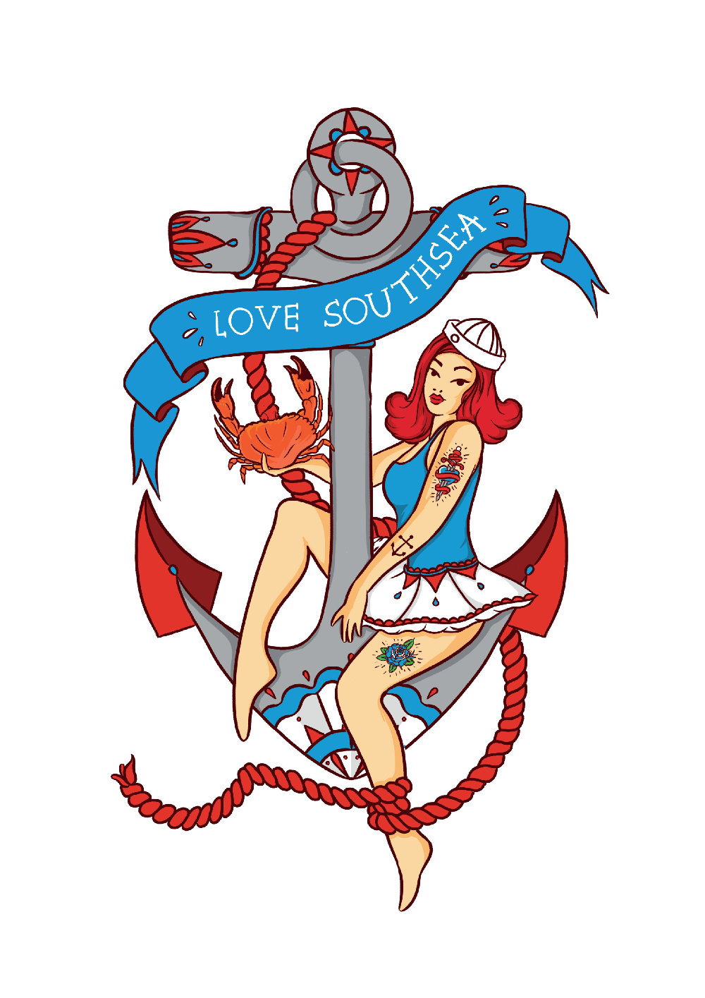 Love Southsea Anchor Sailor Girl Print