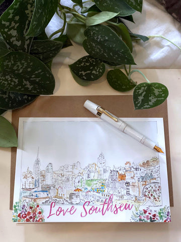 Love Southsea Portsmouth Skyline Watercolour Greetings Card