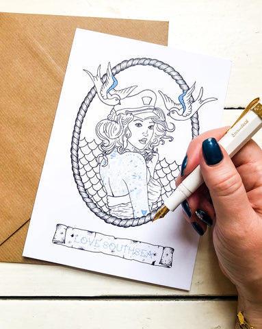 Tattoo Sailor Girl Greetings Card
