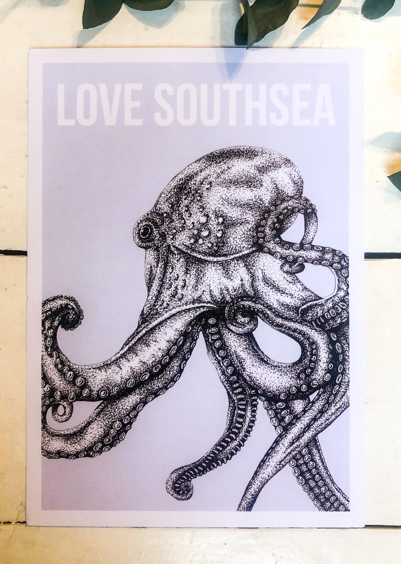 Blue Octopus Illustration Print