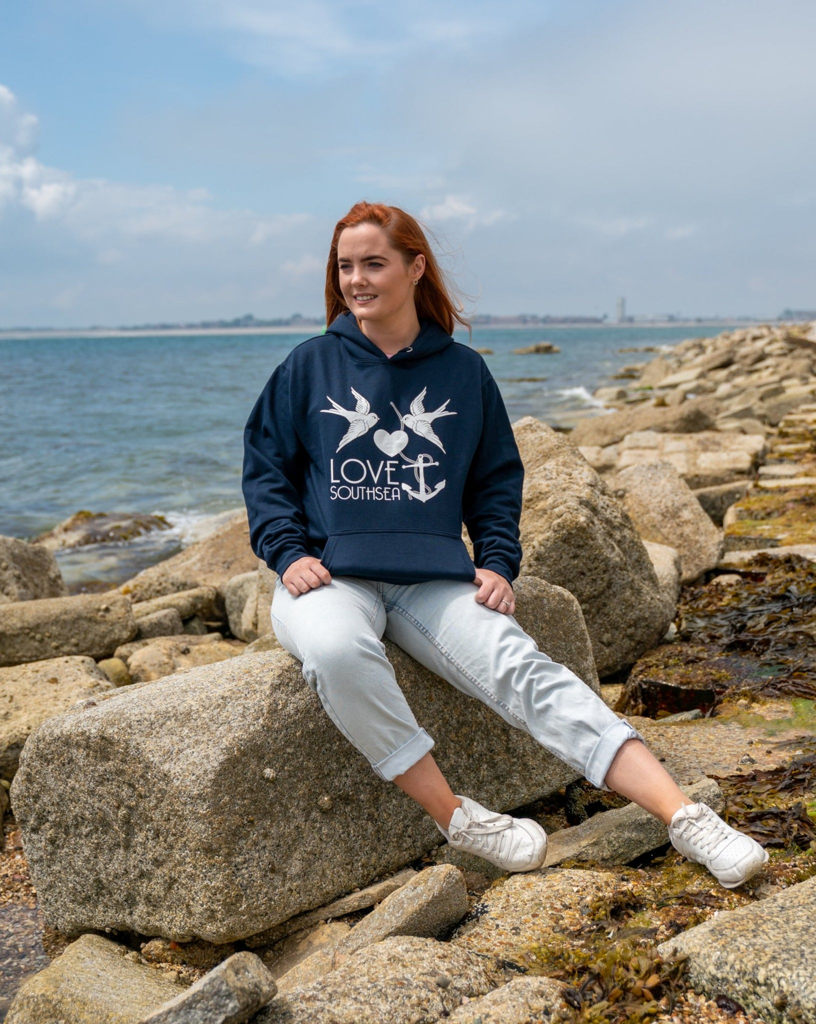 Navy & White Bird & Anchor Hoodie